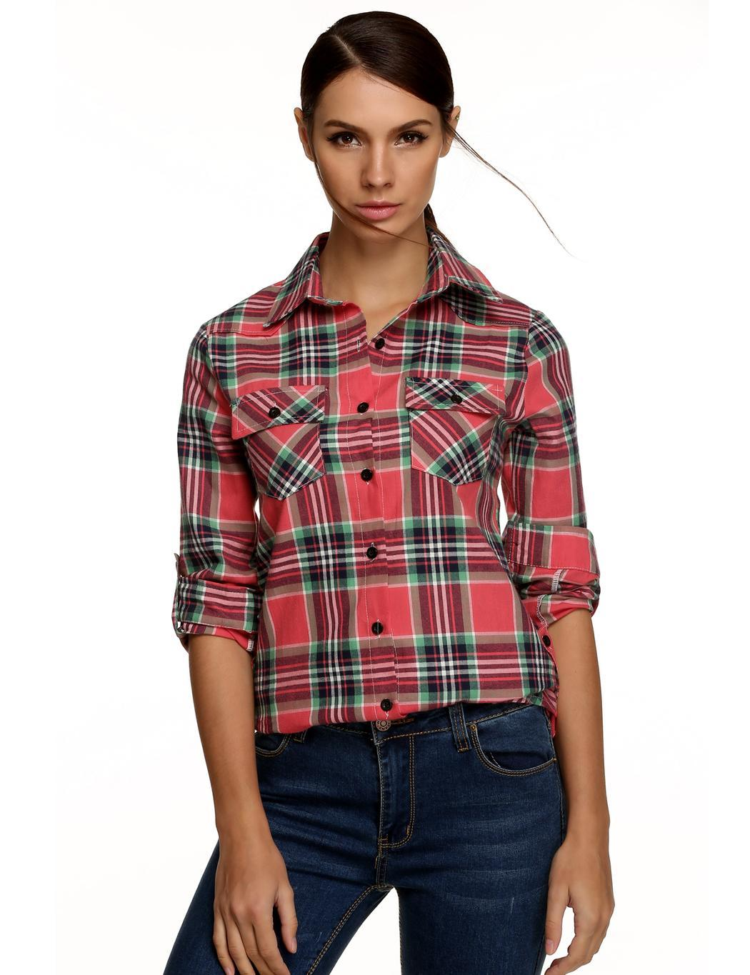 Women down collar button long sleeve wool blend plaid for Plaid button down shirts for women