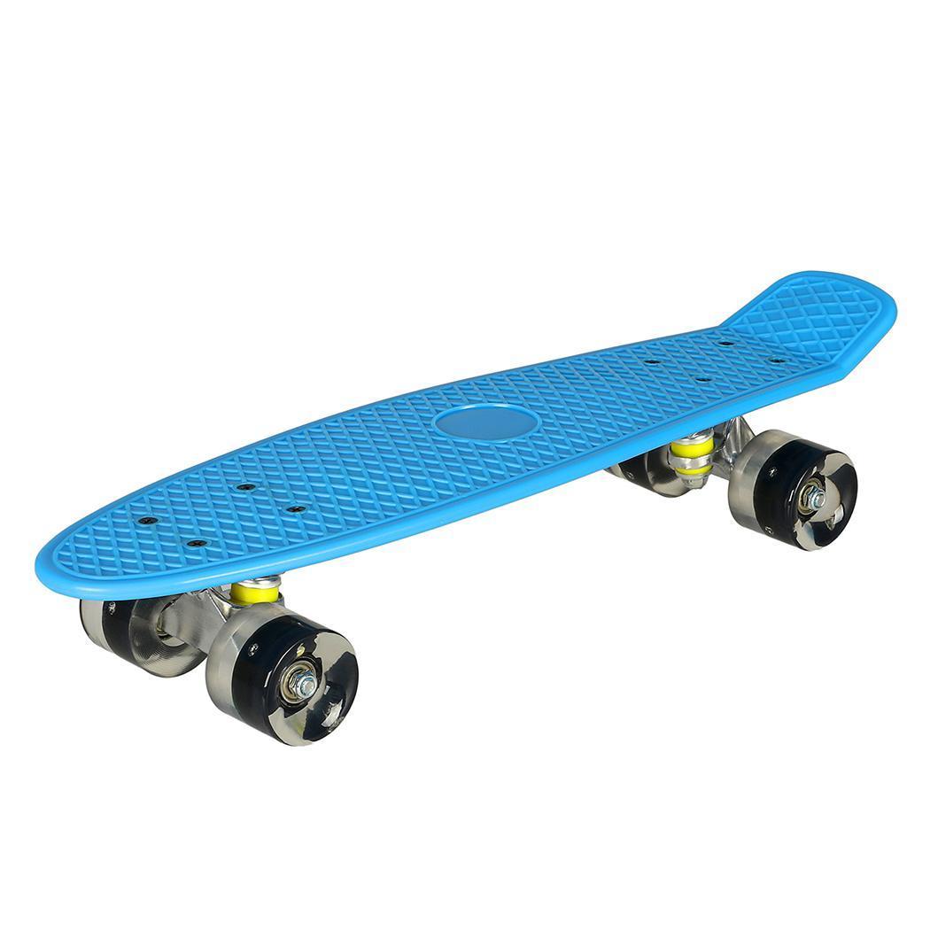 "BRAND NEW Blue 22"" Retro Skateboard Deck Cruiser With Yellow Wheels"